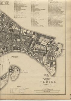 Antique map of Venice Italy, City Plan engraved by T .Ettling, Published in the Weekly Dispatch Atlas, The outline colouring was executed at the time of publication .folding map from atlas. Venice Italy Map, City Maps, Colouring, Outline, How To Plan, Antiques, Ebay, Antiquities, Antique