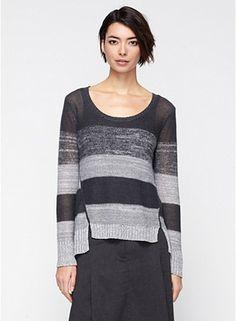 Eileen Fisher Scoop Neck Top in Organic Linen Fine Gauge Blurred Stripe