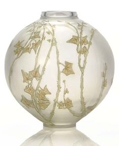 RENÉ LALIQUE (1860-1945). 'Grande Boule Lierre,' A Frosted Glass Vase with Green and Sepia Patina, model introduced 1912, acid etched R. LALIQUE FRANCE.