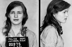 """This is Joan Trumpauer Mulholland.  She was nineteen when this mugshot was taken in 1961 for protesting segregation in a non-violent Freedom Rider demonstration.  From the Breach of Peace blog: She joined the Freedom Riders, she says, ""because none of the things I was being taught in Sunday School were being applied in real life. 'Do unto others as you would have them do unto you.' The children's songs we all learned – 'Jesus loves the little children … red and yellow, black and white.' """