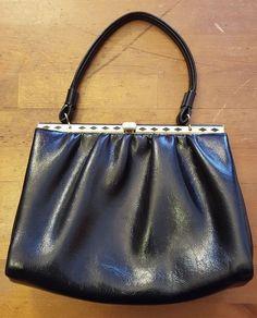 Vintage, Elbief England, Black, Soft Leather, Baguette Handbag, 1960's #ElbiefEngland #Baguette #Cocktail