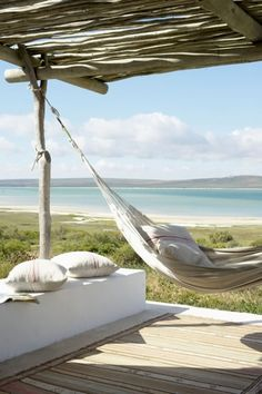 South African Beach Cottage Hammock via Coastal Living. Natur House, Outdoor Spaces, Outdoor Living, Gazebos, Beach Cottages, Coastal Living, Coastal Bedrooms, Coastal Style, Southern Living