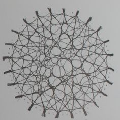 Wet wool threads form a network of minimum pathways, Frei Otto.