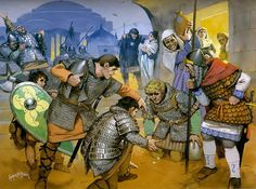 Norman mercenaries gamble outside a brothel in Constantinople, 11th century