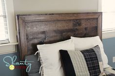 How to build a planked headboard with moulding inspired by Pottery Barn Teen Hampton planked platform bed headboard. Free easy DIY plans including shopping list, cut list and step by step diagrams.