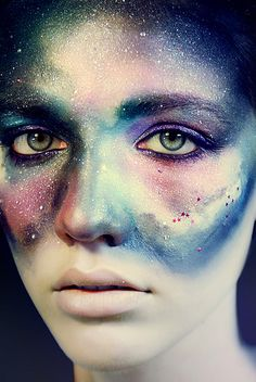 Fantasy makeup idea with airbrush makeup on the face made to look like a galaxy or outer-space. Simply gorgeous!