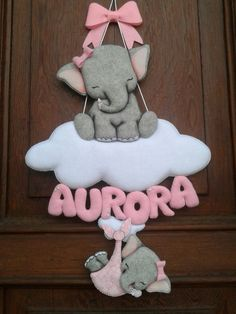 Fiocco nascita personalizzato. Felt Name, Baby Mobile, Name Banners, Baby Gifts, A5, Biscuit, Creative, Ceramics, Babies