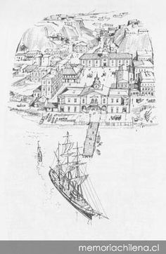 "Plaza Sotomayor  --  Dibujo de Dn. Renzo Pecchenino ""Lukas""   -   Memoria Chilena Masters, Drawings, Color, Caricatures, Bicycle Kick, Antique Photos, Paintings, Art, Master's Degree"