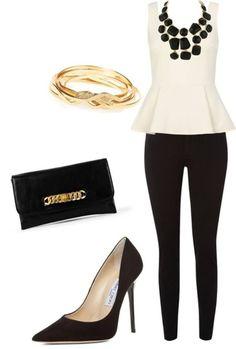 sophisticated/night look - cream peplum top and black leggings