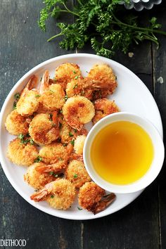 """Baked Batter """"Fried"""" Shrimp with Garlic Dipping Sauce   www.diethood.com   If you are a fan of Red Lobster's Batter Fried Shrimp, then you are going to LOVE this healthier, homemade version in which the shrimp are baked instead of fried and they taste amazing!"""