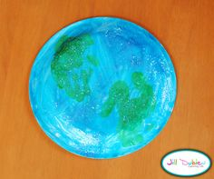 Handprint paper plate craft for Earth Day