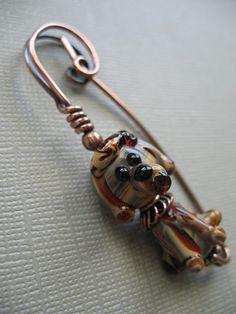lampwork dog scarf pin