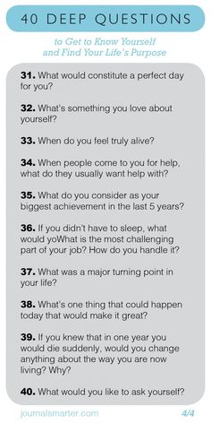 40 Deep Questions To Get To Know Yourself and Your Life Purpose - Journal Smarte. 40 Deep Questions To Get To Know Yourself and Your Life Purpose - Journal Smarter Questions To Get To Know Someone, Deep Questions To Ask, Getting To Know Someone, Get To Know Me, This Or That Questions, Big Talk Questions, Interesting Questions To Ask, First Date Questions, Couple Questions