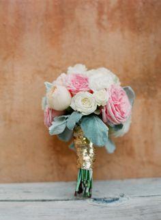 sequin wrapped bouquet | buffy dekmar photography | via: style me pretty
