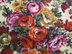 1950's Bold Floral Fabric Red Mid Century Floral by SundayTown, $20.00