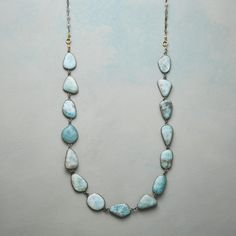 Mar A Mar Necklace[Picked from SUNDANCE] Irregular larimar cabochons seem shaped by the sea. Sterling silver with 22kt gold vermeil findings and hook clasp. Handmade in USA. 36″L. $550.00 Buy It Now !!!