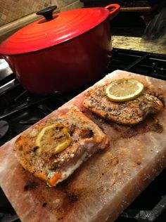 salmon on salt rock: Yum! And moist salmon, what?!