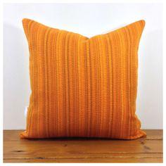 "Cushion Cover Handmade From Vintage Retro 70s Orange & Organic Fabric 16"" New   eBay"