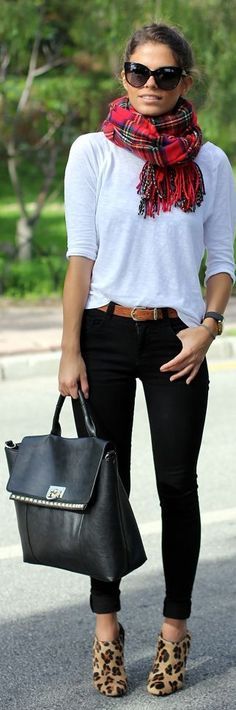 Plaid scarf & leopard heels make this simple outfit so chic. How about that bag too.