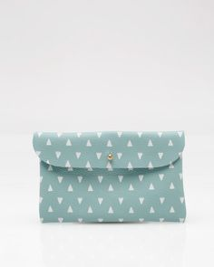 light blue handmade leather wallet pouch with white screenprinted triangles $44