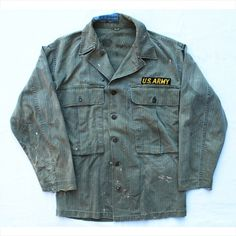 1993vintage: WWII US modified 3rd pattern HBT OD jacket. 13 star buttons. Mens small/medium. 6/10. $55 plus shipping. Thrashed to perfecti...