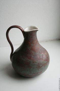 Купить Кувшин - коричневый, кувшин, Керамика, керамика ручной работы, глиняная посуда, патина