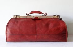 Stunning Large French Leather Vintage Travelling - Doctor's Bag - Beautifully Aged Chestnut Brown Pebbled Leather - Useful and Beautiful