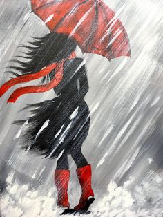 Learn to paint this Step by step Girl walking on a Rainy day Acrylic Painting tutorial for beginning artists. 3 colors , red , white and Black are all you will need to paint along with me. I will teach you easy methods to create a rain effect, how to make Acrylic Painting Tutorials, Painting Techniques, Diy Painting, Painting & Drawing, Watercolor Paintings, Drawing Step, Pencil Painting, Girl Paintings, Black Painting