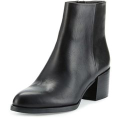 Sam Edelman Joey Leather Chunky-Heel Bootie (£135) ❤ liked on Polyvore featuring shoes, boots, ankle booties, ankle boots, black, black ankle booties, black booties, black boots, black leather bootie and black ankle boots