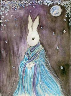 Moon Blossom Rabbit by ~darklingwoods on deviantART