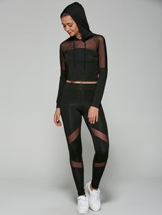 Cropped Hoodie with Mesh Spliced Leggings in Black | Sammydress.com