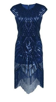 New Sequined Embellished Fringed Great Gatsby Women Midi Dress Flapper Cap Sleeve Party Dress O-Neck Vintage Dresses Formal Dresses With Sleeves, Elegant Dresses, Beautiful Dresses, Flapper Dresses, Evening Dresses, Celebrity Inspired Dresses, Vintage Party Dresses, Dress Vintage, Vintage Clothing