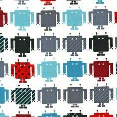 Robert Kaufman - Funbots (Celeb) by Ann Kelle - 1 Metre Boys Cotton Robot Fabric