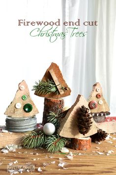 Firewood Christmas trees, made instantly from cutting ends off firewood! Easy to make, fun to decorate.  via www.funkyjunkinte... #12days72ideas
