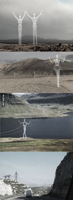 The Land of the Giants – Electrical poles transformed into statues walking along the Icelandic landscape.