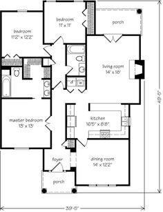 Looking for the best house plans? Check out the Garrison Cottage plan from Southern Living. Small House Floor Plans, Best House Plans, Craftsman Style House Plans, Ranch House Plans, Southern Living House Plans, Southern Cottage, Facade House, House Facades, Cottage Plan