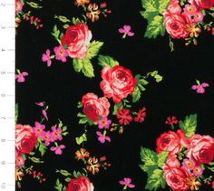 Pink and Red Floral on Black Knit Fabric by YouMadeSomething