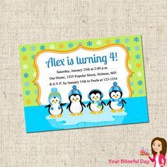 PRINTABLE Boy Penguins Party Invitation. $10.00, via Etsy.
