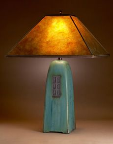 four-sided ceramic lamps. amber mica shade with viridian glaze on the body.