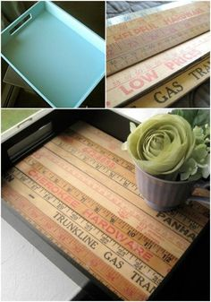How To Dress Up A Regular Tray With Some Repurposed Yardsticks Or Rulers  MyRepurposedLife.com