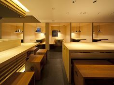 """Noodle Shop, Osaka, Japan by Ietsugu Ohara of Stile Space Industrial Arts+.   The concept is """"small wooden houses within a house"""" to create intimacy."""