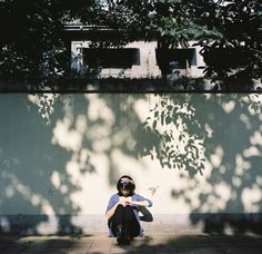 the light hitting different trees that are different distances from the wall creates a cool textured effect Film Photography, Street Photography, Pose Reference Photo, Japanese Photography, Light And Shadow, Aesthetic Pictures, Scenery, Portraits, In This Moment