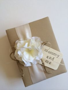 Mommy and Me Baby Brag Book Photo Album - Tea Dyed Muslin, White Hydrangeas, Ivory Ribbon or Your Choice of Colors - Hand Stamped Wood Tag