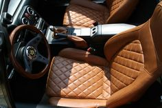 Quilted tan leather interior mx5 miata roadster interior