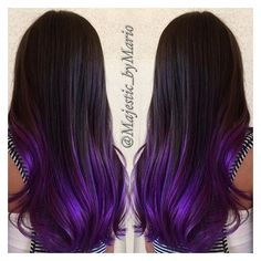 Dark brunette with purple hair color by @majestic_bymario... ❤ liked on Polyvore featuring beauty products, haircare and hair color
