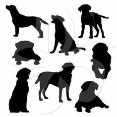 Labrador Silhouettes Digital Clip Art by CollectiveCreation Dog Clip Art, Dog Art, Art Clipart, Black Labs, Black Labrador, Labrador Silhouette, Dog Outline, Shilouette Cameo, Silhouettes