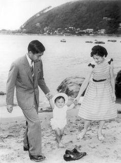 Japanese Crown Prince Naruhito with his parents Prince Akihito and Princess Michiko in 1961.