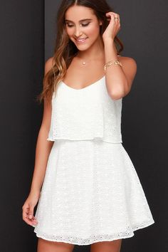 Happy Tiers Ivory Lace Dress at Lulus.com!