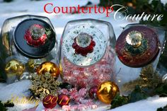 Start a Christmas tradition in your home with our Countertop Couture Holiday   2011 Collection. Our cookie jars add a touch of holiday whimsy to your kitchen   countertop and holiday decor.The gallon size jar offers ample room for Christmas   cookies,biscotti,candy and all of your holiday treats! Every Countertop Couture   jar is lovingly hand painted and assembled personally by me.     Happy holidays!   Lois    http://www.etsy.com/shop/countertopcouture  $48