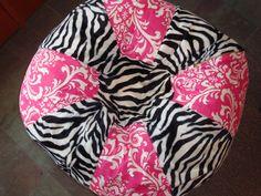 Zebra Stripes and Hot pink damask Bean Bag chair by Paniolo Hot Pink Furniture, Bean Bag Furniture, Zebra Print Bedroom, Pink Bean Bag, Dining Room Chair Cushions, Chairs, Pink Damask, Girls Bedroom, Bedroom Ideas